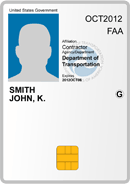 Example of an FAA PIV card